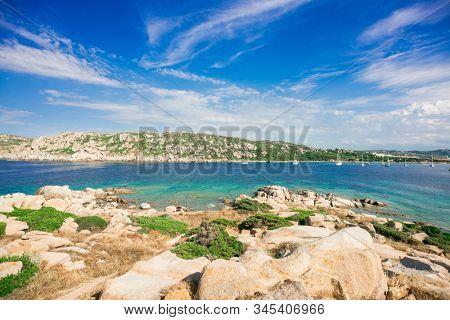 Stones on Zia Culumba Beach. Capo Testa, Sardinia Island, Italy. Sardinia is the Second Largest Island in Mediterranean Sea.