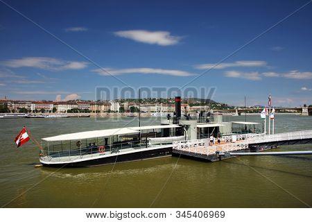 BUDAPEST, HUNGARY, 28 SEPTEMBER 2019: Danube river - panorama. Danube in Budapest Hungary. View of the Danube in Budapest. Embankment of Danube River Budapest