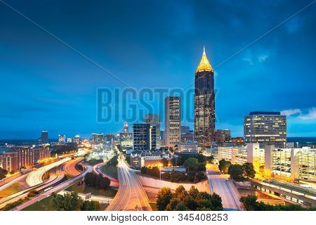 Atlanta, Georgia, USA downtown and midtown skyline at dusk.
