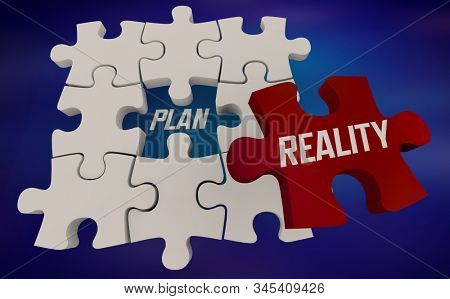 Plan Vs Reality Comparison Puzzle Pieces 3d Illustration