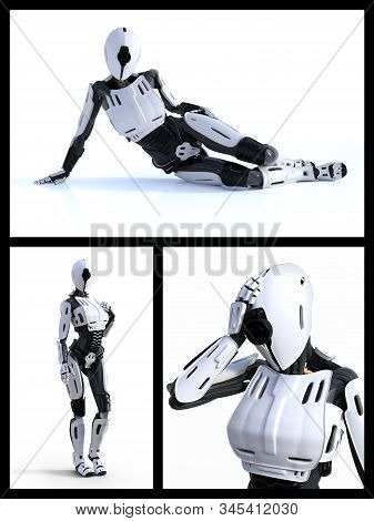 3d Rendering Collage Of A Female Android Robot Technology Artificial Intelligence Concept.