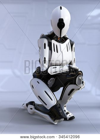 3d Rendering Of A Female Android Robot Sitting Down Crouching. Futuristic Ai Concept.