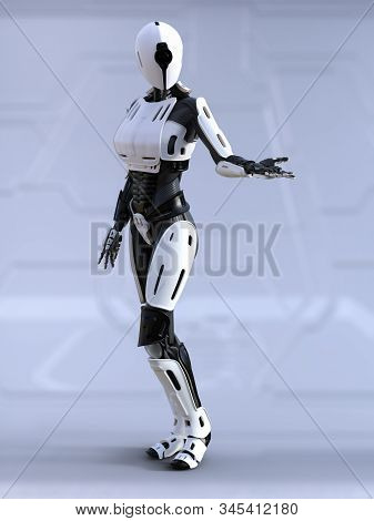 3d Rendering Of A Female Android Robot Standing With Its Arm Out Like She Is Showing Something. Futu