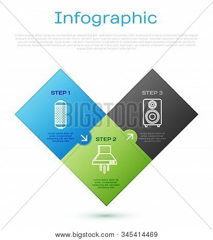 Set Line Stereo Speaker , Stereo Speaker And Kitchen Extractor Fan . Business Infographic Template.