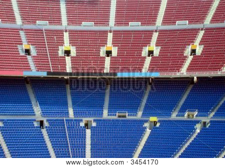 Rows of seating in stadium Nou Camp Barcelona Spain. poster
