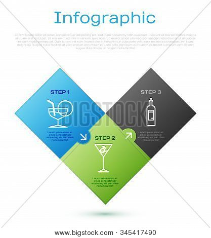Set Line Martini Glass , Bottle Of Wine And Martini Glass . Business Infographic Template. Vector