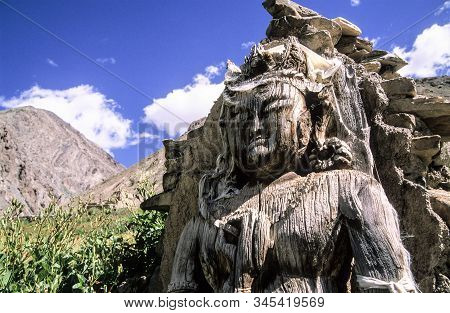 The Oldest Wooden Buddha Sculpture In Ladakh. People There In Northern Part Of India Are Followers O