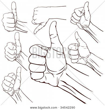 Set of seven hands with thumb finger up. Vector illustration