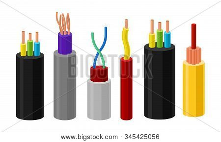 Electric Cables Vector Set. Colorful Electric Wires In Braid Collection