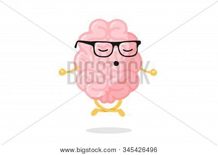 Cute Cartoon Smart Human Brain Character With Glasses Relaxation Meditate Concept. Central Nervous S