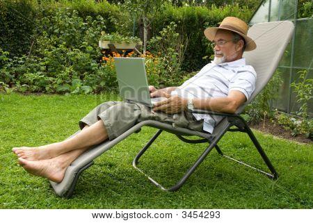 Senior  In Garden
