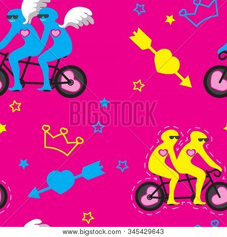 Seamless Pattern Double Bike With Bicyclists Wings Heart Arrow Stars People On Pink Background. Vect
