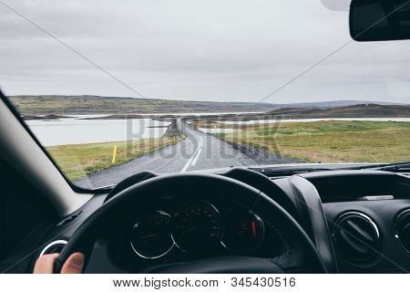 View From Driver's Seat Over The Road To Landmannalaugar, Iceland