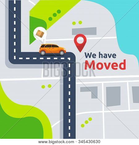 We Have Moved Vector Illustration Concept. New Location Announcement Business Store, Home Or Change