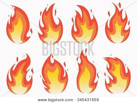 Fire Flames Set And Line Light Effect.  Fires Image, Hot Flaming Ignition, Flammable Blaze Heat Expl
