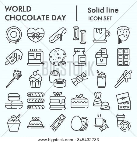 World Chocolate Day Line Icon Set, Chocolate And Sweets Set Symbols Collection, Vector Sketches, Log