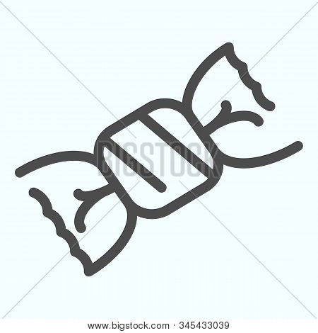 Candy Line Icon. Chocolate Candy Vector Illustration Isolated On White. One Candy In A Wrapper Outli