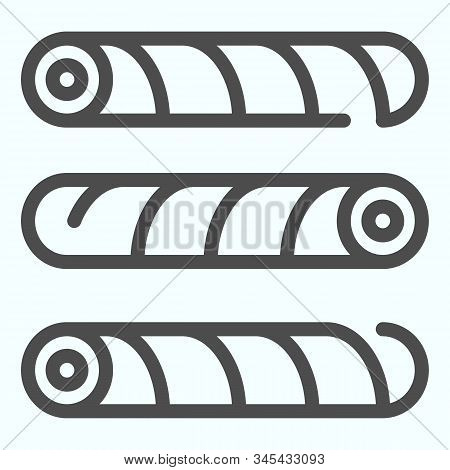 Wafer Straws Line Icon. Tubule Candy Vector Illustration Isolated On White. Wafer Tubule Outline Sty