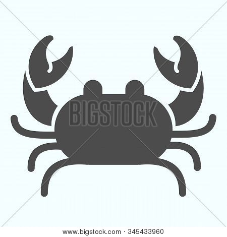 Crab Solid Icon. Seafood Crab Shop Logo Illustration Isolated On White. Sea Crustacean With A Broad
