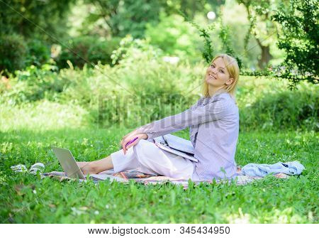 Best Jobs To Work Remotely. Stay Free With Remote Job. Business Lady Freelance Work Outdoors. Remote