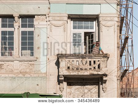 Kutaisi, Georgia, October 13, 2019 : Decorative Balcony On An Old Building On The Newport Street In