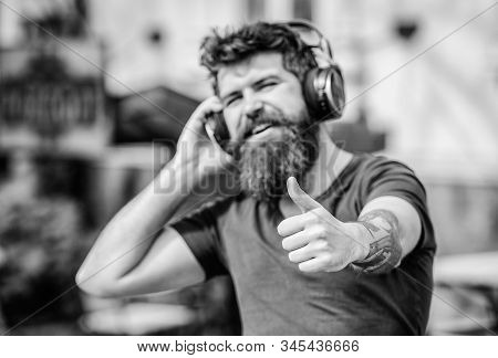 Music Beat For Energetic Mood. Rhythm For Walk. Excellent Music Playlist. Man Bearded Hipster Headph