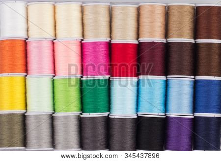 Close Up Of Colorful Cone Of Threads, Sewing Tool