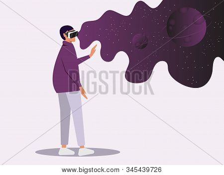 Virtual reality concept.Enthusiastic young girl uses virtual reality goggles and gets into space.Space simulator for the study of astronomy.Using virtual reality for education.Future technology.Vector. Creation and Enjoyment Video about Space. Augment Rea