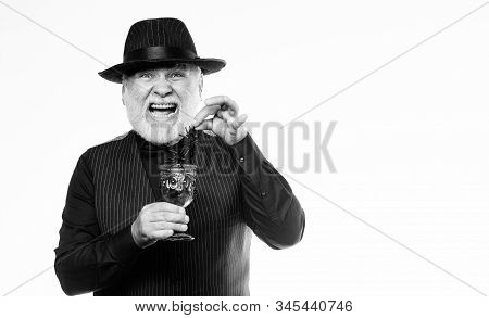 Halloween Concept. Disgusting Halloween Drink. Elegant Bartender Wear Hat And Vest Prepare Drink. Ho