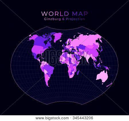 World Map. Ginzburg Vi Projection. Digital World Illustration. Bright Pink Neon Colors On Dark Backg