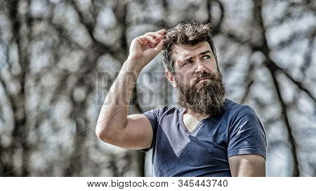Confident Posture Of Handsome Man. Man Attractive Bearded Hipster Posing Outdoors. Guy Masculine App