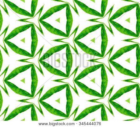 Green Kaleidoscope Seamless Pattern. Hand Drawn Watercolor Ornament. Posh Repeating Tile. Cute Fabri