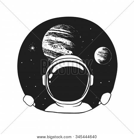 An Astronaut Looks Out Of A Hole In Space. Handcrafted Style. Vector Illustration