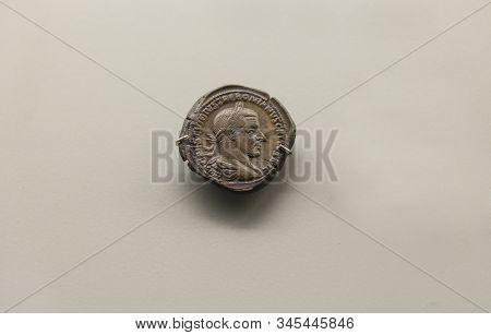 Merida, Spain - August 25th, 2018: One Bronze Coin Of Trebonianus Gallus Roman Emperor 252 Ac. Natio