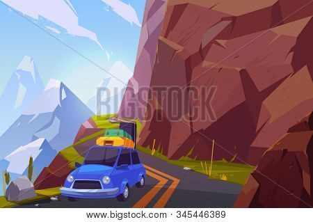 Summer Vacation Car Travel Cartoon Concept. Passenger Car, Loaded With Baggage Bags On Roof, Going O