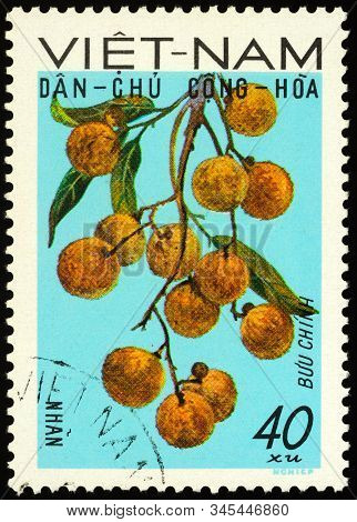 Moscow, Russia - January 16, 2020: Stamp Printed In Vietnam Shows Branch Of Lychee Tree (litchi Sine
