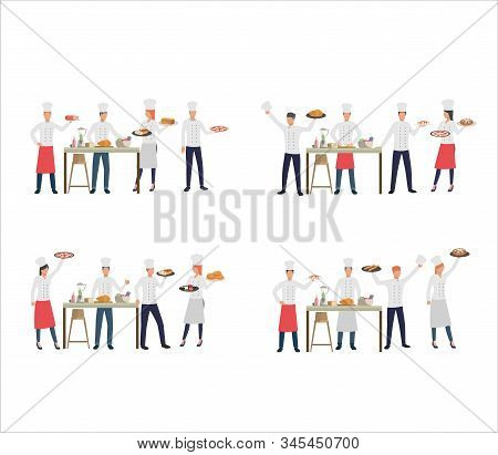 Set Of Catering Service Professional Serving Meals. Flat Vector Illustrations Of Chefs Cooking For C