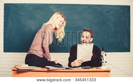 Students In Classroom Chalkboard Background. Education Concept. College Entrance Exam. Prepare Final