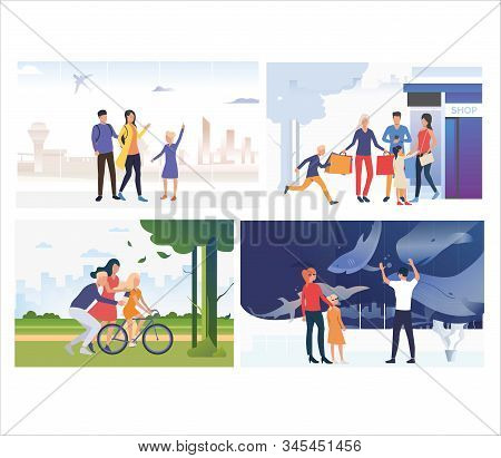 Set Of Family Spending Weekend Together. Flat Vector Illustrations Of People Spending Leisure Time.