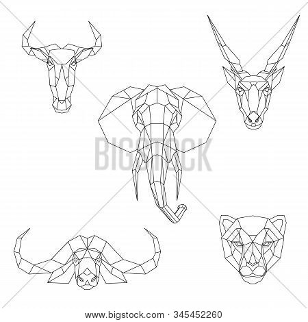 Polygonal Set Of African Animals. Geometric Heads Of A Blue Wildebeest, Cape Buffalo, Cheetah, Eland