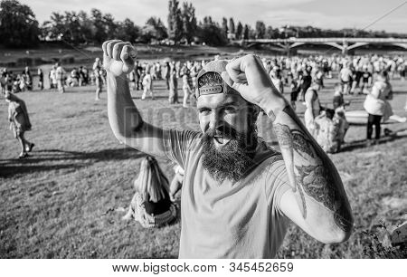 Summer Fest. Hipster In Cap Happy Celebrate Event Fest Or Festival. Man Bearded Hipster In Front Of
