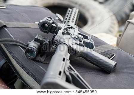 Modern Ar15 Rifle With A Sight Aim