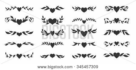 Hearts With Floral Wings Set. Valentines Day, Love, Wedding, Romantic Symbol. Tattoo Design, Glyph S