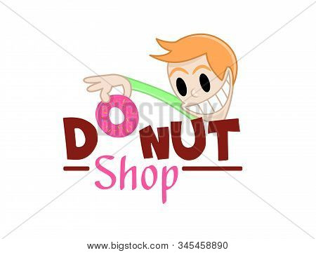 Funny Character Takes A Donut. Vector Illustration Of Delicious Sweet Donuts Shop Logo Icon. Design