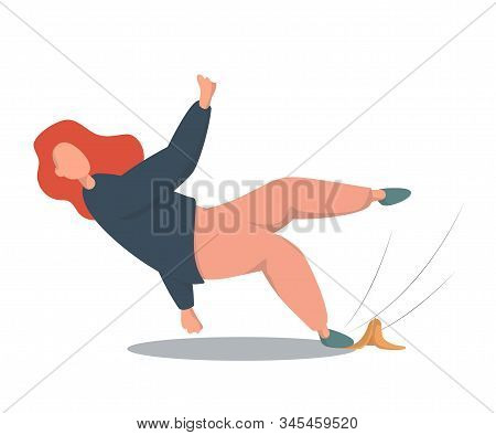 A Woman Falls Slipping On A Banana. The Concept Of Falling And Bad Luck.