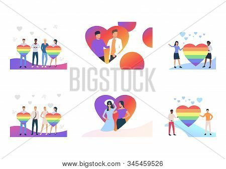 Gay Couples Celebrating Pride Set. Lgbt People Holding Rainbow Hearts. Flat Vector Illustrations. Ho