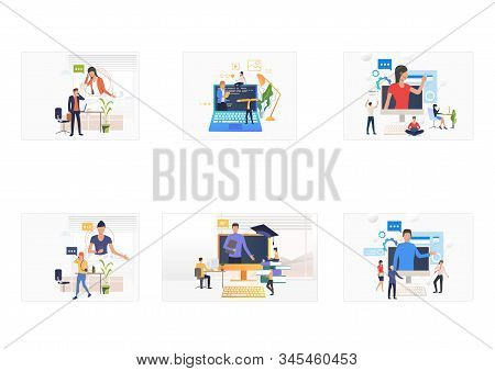 Online Training Set. Trainer Speaking On Computer Monitor, People Talking On Cell. Flat Vector Illus