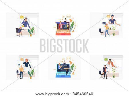 Digital Communication Set. Professionals Talking On Cellphones, Watching Seminar. Flat Vector Illust
