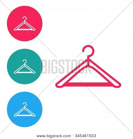 Red Line Hanger Wardrobe Icon Isolated On White Background. Cloakroom Icon. Clothes Service Symbol.