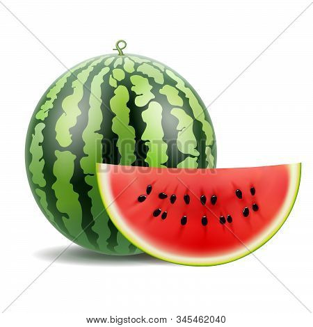 Watermelon, Watermelon Slice, 3d Realistic Vector. Isolated On A White Background.
